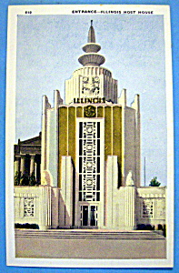 Illinois Host House Postcard (1933 Century Of Progress) (Image1)