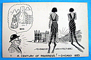 Cartoon Postcard w/Future Architecture (Chicago Fair) (Image1)