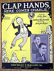 Sheet Music For 1925 Clap Hands Here Comes Charlie