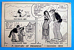 Cartoon Postcard w/Gold Digging (Century Of Progress) (Image1)