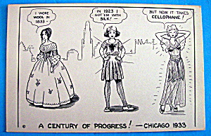 Cartoon Postcard w/Cellophane (Century Of Progress) (Image1)