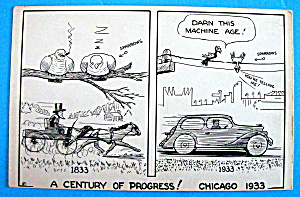 Machine Age Cartoon Postcard (1933 Century Of Progress) (Image1)
