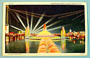 Fountain By Night Postcard (1933 Century Of Progress) (Image1)
