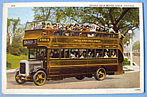 1933 Century of Progress, Double Deck Bus Postcard (Image1)