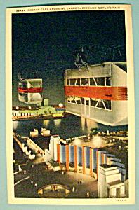Rocket Cars Cross Lagoon Postcard (Century Of Progress) (Image1)