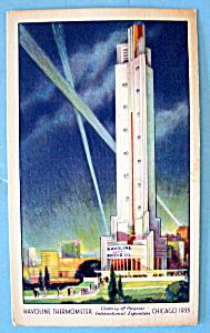 Havoline Thermometer Postcard-1933 Century Of Progress (Image1)