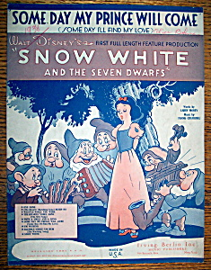 Sheet Music For 1937 Some Day My Prince Will Come