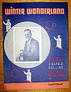 Sheet Music Of 1934 Winter Wonderland By Dick Smith