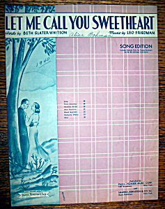 Sheet Music For 1940 Let Me Call You Sweetheart