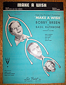 Sheet Music For 1937 Make A Wish