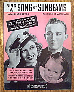 Sheet Music For 1938 Sing A Song Of Sunbeams