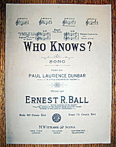Sheet Music For 1909 Who Knows?