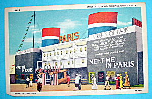 Streets of Paris Postcard (1933 Century Of Progress) (Image1)