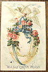 Click here to enlarge image and see more about item 10016: With Best Easter Wishes Postcard with Two Doves & Egg