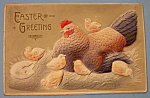 Click here to enlarge image and see more about item 10031: Easter Greetings Postcard w/Chicken and Six Chicks