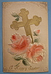 Click here to enlarge image and see more about item 10033: Happy Easter Postcard with a Cross & Pink Flowers