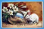 Happy Easter Postcard with Rabbit Eating Straw