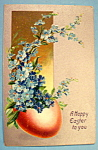 Happy Easter to You Postcard with Red Egg & Blue Flower