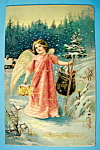 A Merry Christmas Postcard with Angel Walking-Embossed