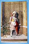 Christmas Greetings Postcard w/Girl with Umbrella