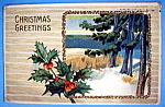 Christmas Greetings Postcard with Mistletoe & Outdoors
