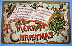 A Merry Christmas Postcard w/Mistletoe & Book Opened