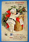 Wishing You Christmas Cheer Postcard with Boy & Basket