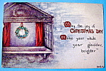 Click to view larger image of Christmas Day Postcard with Wreath Inside Window (Image1)