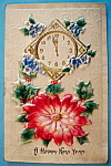 Click here to enlarge image and see more about item 10095: A Happy New Year Postcard with Clock & Red Flower