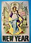 Click here to enlarge image and see more about item 10096: Happy New Year Postcard with an Angel (Embossed)