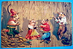 Click here to enlarge image and see more about item 10097: Happy New Years Postcard with Four Pigs Dancing