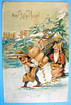 A Happy New Year Postcard with Two Elves Carrying Bags