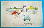Click here to enlarge image and see more about item 10103: New Year Greetings Postcard w/ Boy Opening Gate For Man