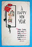 Click here to enlarge image and see more about item 10105: A Happy New Year Postcard with Boy Looking at Calendar