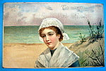 Click here to enlarge image and see more about item 10113: To My Valentine Postcard with Woman Gazing at Beach