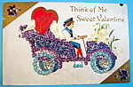 Click here to enlarge image and see more about item 10115: Think of Me Sweet Valentine Postcard with Boy & Car