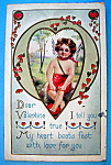 Click here to enlarge image and see more about item 10116: Dear Valentine Postcard with View of Angel in Heart