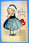 St. Valentines Greeting Postcard with Girl & Heart