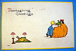 Click here to enlarge image and see more about item 10147: Thanksgiving Greetings Postcard with 2 Kids & Pumpkin