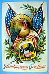 Click here to enlarge image and see more about item 10151: Thanksgiving Greeting Postcard w/Turkey & Flags