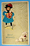 Click here to enlarge image and see more about item 10164: Best Wishes Postcard w/Little Girl & Dog-Fabric Overlay