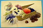 Click here to enlarge image and see more about item 10167: Best Wishes Postcard w/Basket Filled w/ Nuts & Flowers