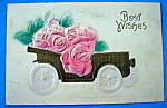 Click here to enlarge image and see more about item 10168: Best Wishes Postcard with Wagon Filled with Roses