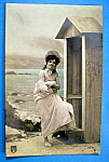 Click here to enlarge image and see more about item 10175: Risque Woman On A Beach Postcard