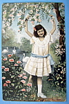 Thinking of You Postcard with Girl Standing by Pond