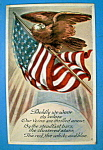 Click here to enlarge image and see more about item 10269: Boldly We Wave Postcard with Eagle On American Flag