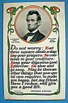 Click here to enlarge image and see more about item 10278: Abraham Lincoln Postcard (Sensible Way To Live)