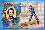 Click here to enlarge image and see more about item 10283: Abraham Lincoln Centennial Souvenir Postcard (Splitter)