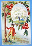 Click to view larger image of Washington Birthday Greetings Postcard-Boy Holding Axe (Image1)