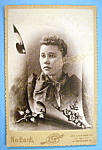 Click here to enlarge image and see more about item 10404: Blue Mourning - Die Cut Cabinet Photo of a Sad Woman